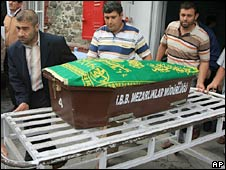 A coffin of one of the 13 babies who died in Izmir, Turkey