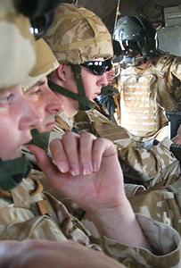 Troops in a chopper