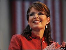 Sarah Palin on the campaign trail in Philadelphia, Pennsylvania, 22 Sept