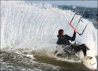 Kite surfer off Tynemouth Beach, UK, 23 September 2008