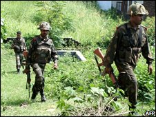 Indian troops in Indian-administered Kashmir