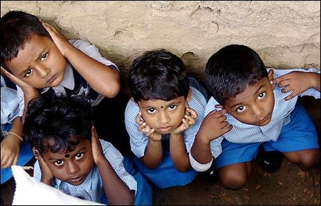 Traumatised children in Kilinochchi