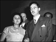 Ethel and Julius Rosenberg are shown during their trial for espionage in New York City