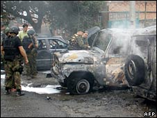 Police investigate the site of a blast in Nazran, Ingushetia. Photo: July 2008