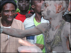 Luhya boy at his circumcision ceremony