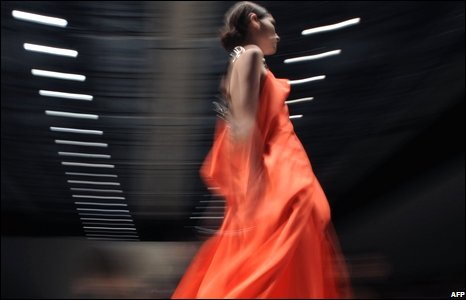 A model on the catwalk in Milan