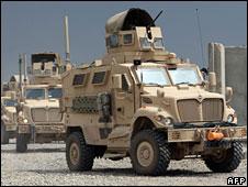 US troop convoy in Afghanistan