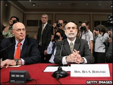 Henry Paulson (l) and Fed Chairman Ben Bernanke face US lawmakers