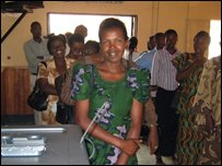 Women queueing to vote in Rwanda
