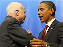 John McCain and Barack Obama greet one another at a forum on national service at Columbia University, September 11 2008