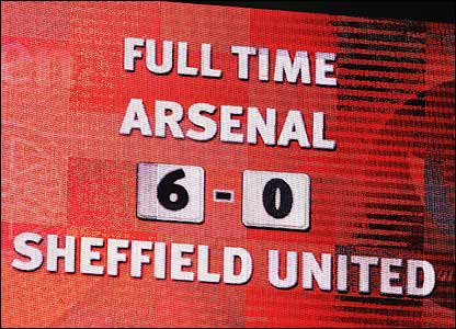 Scoreboard at Arsenal