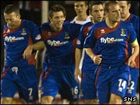 Inverness CT's Richard Hastings (second left) sent the tie into extra time