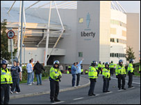 There was a heavy police presence and trouble after the game