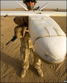 British soldier with a surveillance drone in Afghanistan