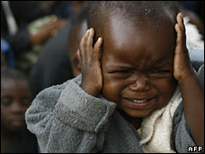 A child in Zimbabwe whose family were fleeing political violence