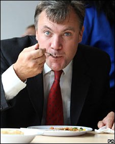 Ed Balls eating school meal