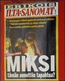 A hoarding showing the front page of a Finnish national newspaper with the headline 'Miksi' (Why?) in Kauhajoki, western Finland