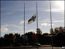 A Finnish flag flies at half-mast at the Kauhajoki college