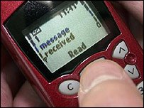 Text message alert on a mobile phone