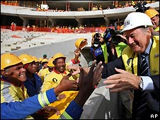 Fifa president Sepp Blatter meets South African football stadium workers