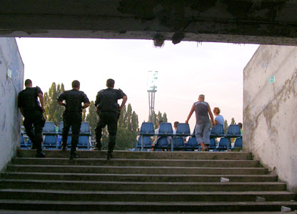 Police enjoy the match