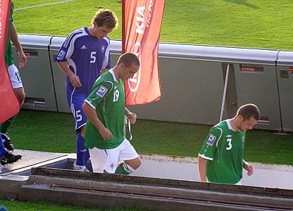 Players at half time, Slovakia v NI