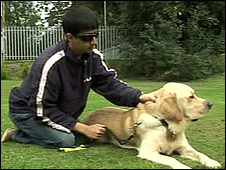 Mohammed Abraar Khatri and his guide dog Vargo