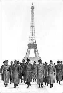 Hitler and generals stroll in Paris in June 1940