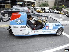UN Secretary-General Ban Ki-moon  uses a solar car