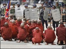 Monks and soldiers on the streets of Rangoon in 2007