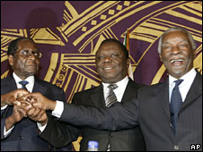 President Robert Mugabe, Morgan Tsvangirai and South Africa's Thabo Mbeki