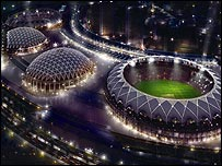 An artist's impression of how a floodlit Dubai Sports City would look