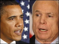 Barack Obama, left, and John McCain