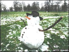 Snowman survives the mild weather