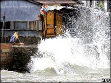 Storm waves lash southern China's Hainan island