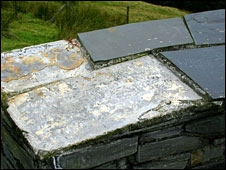 A damaged section of the Wynford Vaughan-Thomas memorial (picture: Graham White)