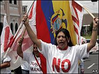 Manifestante en contra de la aprobación de la nueva Constitución