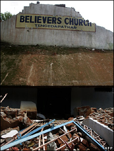 A church destroyed in the anti-Christian riots