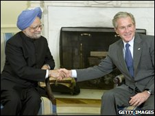 Manmohan Singh and President Bush