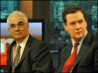 Chancellor Alistair Darling and Shadow Chancellor George Osborne