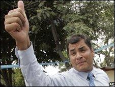 Ecuadors President Rafael Correa  in Guayaquil, Ecuador, on 25/09/08