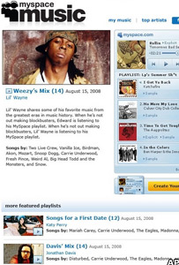 MySpace Music screengrab
