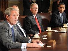 President George W Bush meeting Congressional leaders