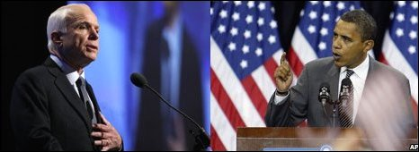 John McCain and Barack Obama during previous campaign speeches