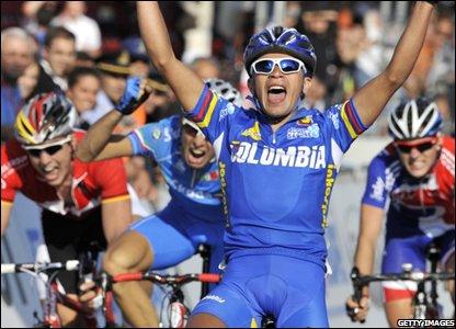 Colombian Fabio Andres Duarte wins Friday's under-23 men's road race
