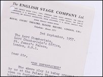 The English Stage company letter