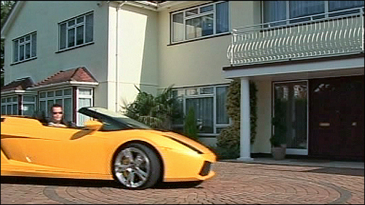 The Lamborghini outside the house