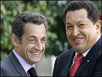 Nicolas Sarkozy y Hugo Chávez