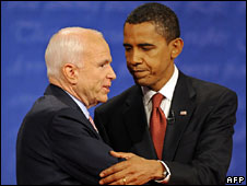 John McCain and Barack Obama meet on stage, 26 Sept