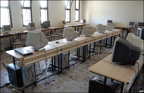 A school room damaged by a car bomb in Damascus, Syria (27/09/2008)